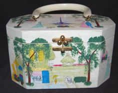 Vintage Annie Laurie Originals Palm Beach Handpainted SIGNED Box Purse 1950's