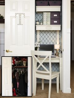 This is SO smart! Turning an extra closet into a mini office. Love it!