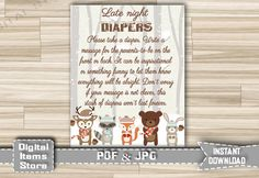 Baby Shower Diaper Thoughts Winter Woodland - Late Night Diapers Snow Forest Animals Words for Wee Hours - Instant Download - w2 by DigitalitemsShop on Etsy