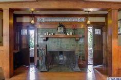Arts and Crafts Bungalow | Fireplace |  1908 Lewis J. Merritt Mansion on Pasadena's Millionaires Row | Stickley, Roycroft, Marie Zimmermann, Dirk Van Erp, Limbert