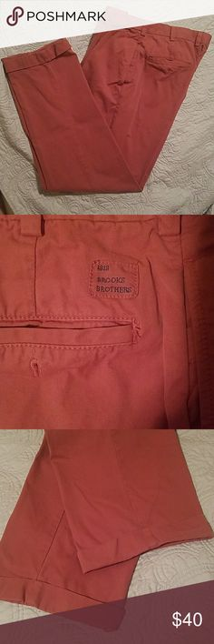 Brooks Brothers Elliot Chinos, Nan-Tucket Red Never worn, like New Condition.  Pleated front, relaxed fit, with cuffed hem.  Machine Wash. Brooks Brothers Elliot fit Chinos. Brooks Brothers Pants Chinos & Khakis
