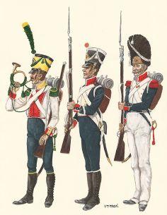 Volteggiatore, fuciliere e granatiere di un reggimento di fanteria del ducato di Varsavia