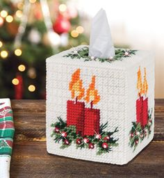 Warm Glow Tissue Box Cover Plastic Canvas Kit - Warm up any room in your home. Kit includes 7 mesh plastic canvas, acrylic yarn and trims to fit boutique tissue box. Plastic Canvas Coasters, Plastic Canvas Tissue Boxes, Plastic Canvas Crafts, Plastic Canvas Patterns, Plastic Canvas Christmas, Felt Christmas, Christmas Crafts, Canvas Designs, Tissue Box Covers