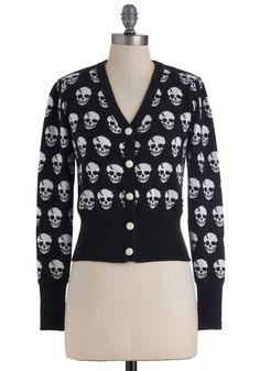 Día de los Muertos Cardigan in Black - Black, White, Buttons, Casual, Long Sleeve, Short, Novelty Print $49.99