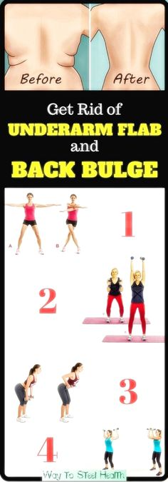 4 Quick Exercises to Get Rid of Underarm Flab and Back Bulge in 3 Weeks 4 Quick Exercises to Get Rid of Underarm Flab and Back Bulge in 3 Weeks Do Exercise, Excercise, Fitness Studio Training, Cellulite Exercises, Reduce Cellulite, Fat Burning Workout, Easy Workouts, Lose Belly Fat, Get In Shape