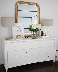 dresser decor theeverygirl_ knows that a dresser is both a place for your clothes, and the focal point of the bedroom. Bedroom Dressers, Bedroom Sets, Home Decor Bedroom, Bedroom Furniture, Bedding Sets, Master Bedroom, Bedroom Dresser Styling, Furniture Dolly, White Bedroom Dresser