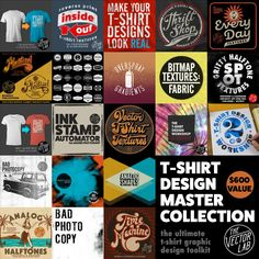 T-Shirt Design Master Collection - for Photoshop and Illustrator T Shirt Designs, Design A Tshirt, Texture Web, Logo Shapes, 3d Shapes, Affinity Photo, Distressed Texture, Design Typography, Affinity Designer