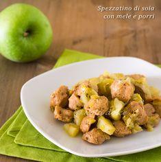 Spezzatino di soia con mele e porri