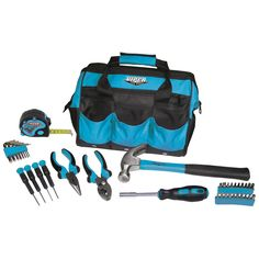 New! Teal 12-Inch Tool Bag and 30-Piece Tool Set