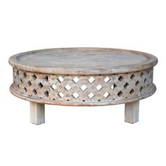 <p>Soften a room with curvaceous furniture like this coffee table. Its distressed finish and basket-cut pattern dimensionalize and add visual interest to sophisticated neutral palettes.</p>