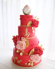 A grand cake for a grand birthday celebration. Red Birthday Cakes, Grandma Birthday Cakes, 70th Birthday, Chinese New Year Cake, Chinese Cake, Wedding Cake Designs, Wedding Cakes, Celebration Cakes, Birthday Celebration