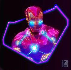 Edited bright neon iron man