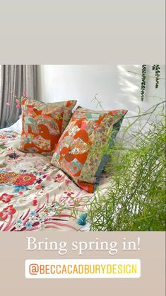 Bring in spring with these gorgeous artisan kimono silk and velvet cushions by designer maker Rebecca Cadbury in her London studio Luxury Cushions, Velvet Cushions, Japanese Kimono, Vintage Japanese, Becca, Bed Sheets, Artisan, Hand Painted, London