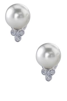 Akoya Pearl & Diamond Earrings Pearl And Diamond Earrings, Pearl Diamond, Pearl Jewelry, Diamond Jewelry, Vintage Jewelry, Jewelry Box, Jewelry 2014, Women Jewelry, Pink Tourmaline Ring