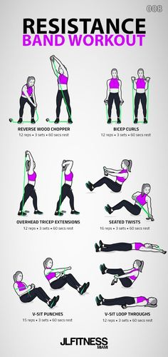 Resistance Band Workout 003 - Fitness Tips Fitness Workouts, Pilates Workout, Fitness Motivation, Fitness Pal, Pre Workout Stretches, Cardio Yoga, Planet Fitness, Yoga Workouts, Pilates Reformer