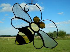 Stained glass Bee art, window Suncatcher, Bumble Bee gift, Black and yellow sun catchers, Hanging glass gifts, best selling items, Bee's by BelleVerreBon on Etsy