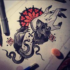 A Reclusive Russian Tattoo Artist's Stunning Sketches - Ratta Tattoo Tattoo Sketches, Tattoo Drawings, Body Art Tattoos, Art Sketches, Hand Kunst, Rat Tattoo, Russian Tattoo, Neo Traditional Tattoo, Hand Art