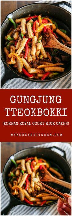 Gungjung Tteokbokki (Korean royal court rice cakes)   http://MyKoreanKitchen.com