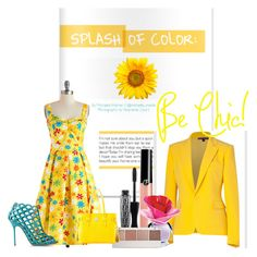 splash of color by carolina-esquivel on Polyvore featuring polyvore fashion style Bettie Page Ralph Lauren Collection Sergio Rossi Dooney & Bourke Witchery Giorgio Armani Justin Bieber E + J clothing yellow color floral dress