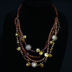 Amber brown and copper Keishi pearls mulitstrand by BlessingStones