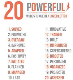 Writing a cover letter? Here are 20 powerful words to use! #jobseeker #coverletter