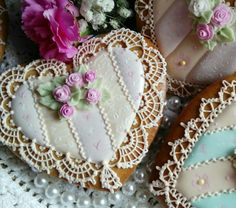 Valentines hearts gingerbread decorated cookies