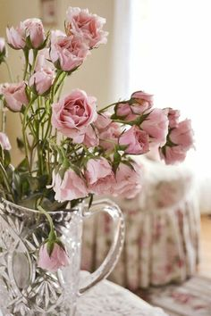 pink roses and crystal