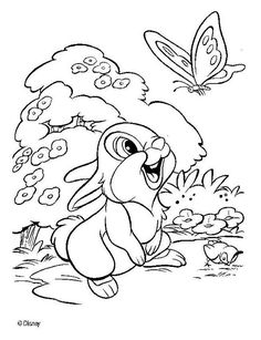 Bambi With Thumper Coloring Pages  Coloring pages  Pinterest