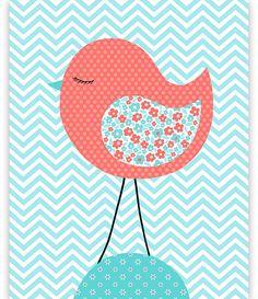 Bird Nursery Decor Aqua and Coral Nursery Baby Girl Decor
