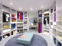 Best Walk in Closet Design.. I would love this so much I'd probably sleep in there..