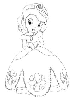 cute princess sofia disney coloring pages printable and coloring book to print for free. Find more coloring pages online for kids and adults of cute princess sofia disney coloring pages to print. Coloring Pages For Girls, Cartoon Coloring Pages, Coloring Pages To Print, Free Printable Coloring Pages, Free Coloring Pages, Coloring For Kids, Coloring Books, Disney Coloring Pages Printables, Elsa Coloring