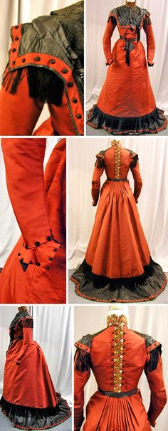 Walking dress, Bostic of Boston, turn of the century. Deep rust silk trimmed in black silk, completely lined in cotton. First layer of trim at bottom of skirt is fringe. The neck piece was relined in silk. extantgowns.blogspot.com.au. circa 1890s.