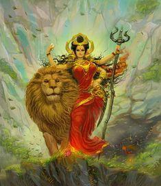 Navratri Puja will help you overcome all your negativities. Flourish with wealth on this Navratri by offering Homam to Lakshmi, Saraswathi & Durga. Durga Goddess, Durga, Hinduism Art, Hindu Art, Kali Hindu, Durga Painting, Painting, Indian Painting, Durga Puja