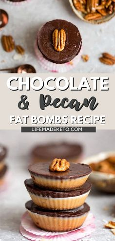 This chocolate pecan fat bomb recipe makes the perfect after dinner dessert or guilt-free treat for anytime of day! You can even freeze them for later if you want some quick snacks on hand. No matter how you eat them, these sweet treats are sure to satisfy any cravings while still being nutritious enough for breakfast or lunch. Give them a try today! Chocolate Pies, Chocolate Muffins, Chocolate Recipes, Chocolate Chip Cookies, Sugar Free Desserts, Low Carb Desserts, Dessert For Dinner, Dessert Bars, Sugar Free Ice Cream