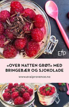 «OVER NATTEN GRØT» MED BRINGEBÆR OG MØRK SJOKOLADE Stevia, Bon Appetit, Vegetables, Food, Essen, Vegetable Recipes, Meals, Yemek, Veggies