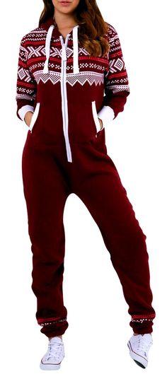 SkylineWears Women's SkylineWears Women's Onesie Fashion Printed Playsuit Ladies Jumpsuit Large Burgundy