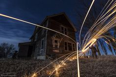 Burning Down The House - Canon EOS 6D  EF 16-35mmf/2.8L II usm @ 20 sec f/4 320iso 17mm steel wool moonlight stars abandoned house near Lake Thompson SD