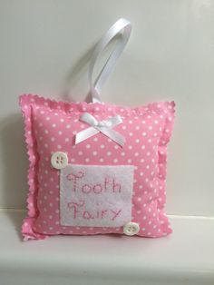 Spotty pink Tooth pillow  Pink Tooth Fairy by DaisyDoodleTwo