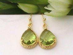 Peridot Earrings, Dangle Earrings, Wedding Jewelry, Gold Green Earrings, Bridesmaid Gift Idea, Wedding Shower, Bridal Party Gift for Her