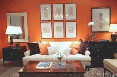 lovely orange brown living room walls   Contemporary Living Room Grey And Orange Design, Pictures ...
