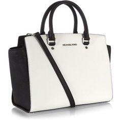 MICHAEL Michael Kors Selma Large Saffiano Satchel (5.975 ARS) ❤ liked on Polyvore featuring bags, handbags, purses, bolsas, sac, satchel handbags, leather satchel handbags, handbag purse, studded purse and white handbags
