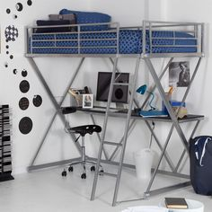 BeUniqueToday Modern Bunk Bed Style Twin Loft Bed with Desk in Silver Metal Finish, Futuristic Modern Bunk Bed Style Raised High Off The Floor to Allow Space for A Work Desk or Play Area Underneath Modern Bunk Beds, Twin Bunk Beds, Kids Bunk Beds, Loft Beds, Bedroom Loft, Bedroom Desk, Bunk Bed With Desk, Bunk Beds With Stairs, Loft Spaces