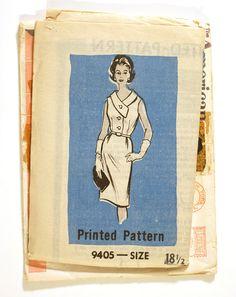 FF 1960s Dress Pattern Asymmetrical Neckline Bust 39 American Weekly 9405. $15.00, via Etsy.