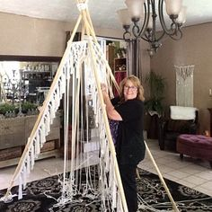Here I am building my Macrame Teepee. It was a lot of fun! This Teepee is available for Rental. Come and take a peek of the finished product. Bohemian Wedding Decorations, Tipi Wedding, Bohemian Decor, Bohemian Living, Boho Dekor, Lounge Party, Macrame Design, Macrame Art, Macrame Knots