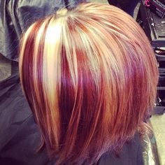 burgundy bob with red and blonde highlights