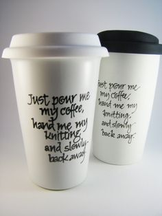 Travel Mug for Knitters Coffee Warning by winemakerssister on Etsy