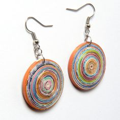 Pink  Dome shape magazine paper earrings Up-cycled paper woven heart Earrings - Eco Friendly Earrings - Recycled Earrings. summer trend by NavehsUpcycledDesign from Ecommmax. Find it now at http://ift.tt/1XdWrnU!