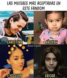 Solo ellas Christina y Ericka son las mejores soy ericka Memes Cnco, Best Memes, Aaliyah, Becky G, Budgies, Celebs, Celebrities, Super Funny, Boy Bands
