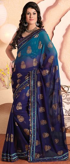 Shaded #Blue Faux Georgette #Saree With #Blouse @ $66.73