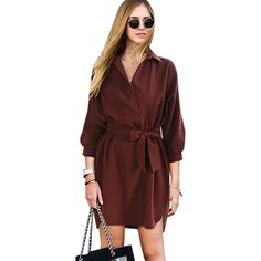Stylish Spring Women's Blouse Dress With Belt V-neck